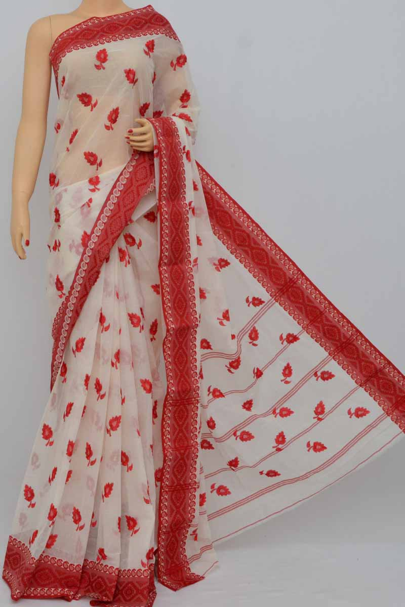 Biege-Red Border Bengal Handloom Resham Work Saree (Without Blouse) - MY250389