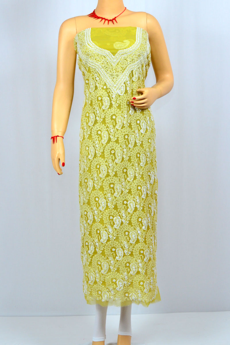 Mehandi Green Color Hand Embroidered Luckowi Chikankari Suit ( Cotton) MCSU400021