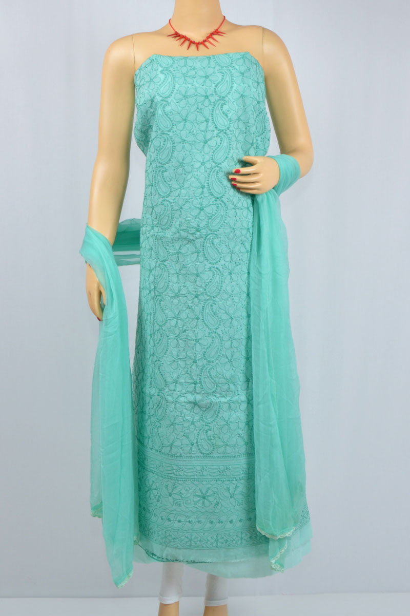 Pantone Sea Green Hand Embroidered Lucknowi Chikankari Suit (Cotton) MCSU400012