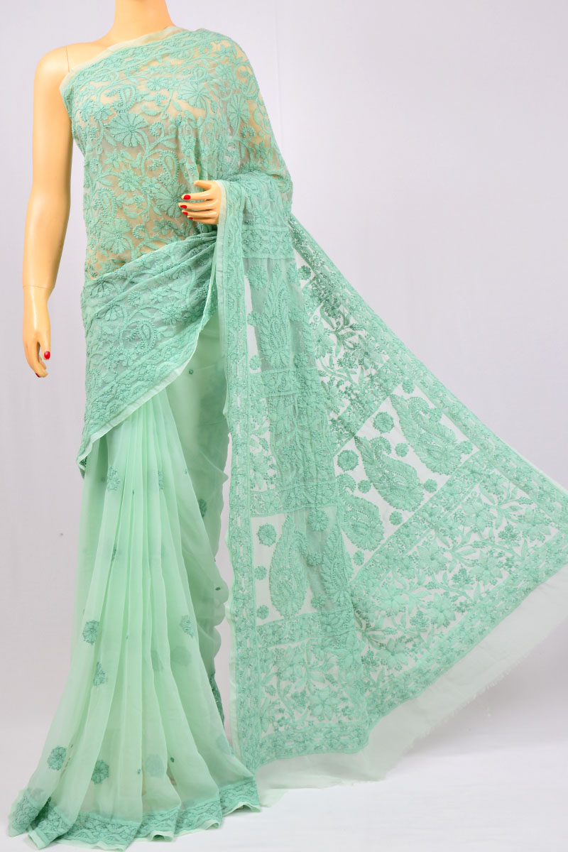 Mint Green Half Jaal Palla, Hand Embroidered Lucknowi Chikankari Saree (With Blouse - Georgette) KC980005