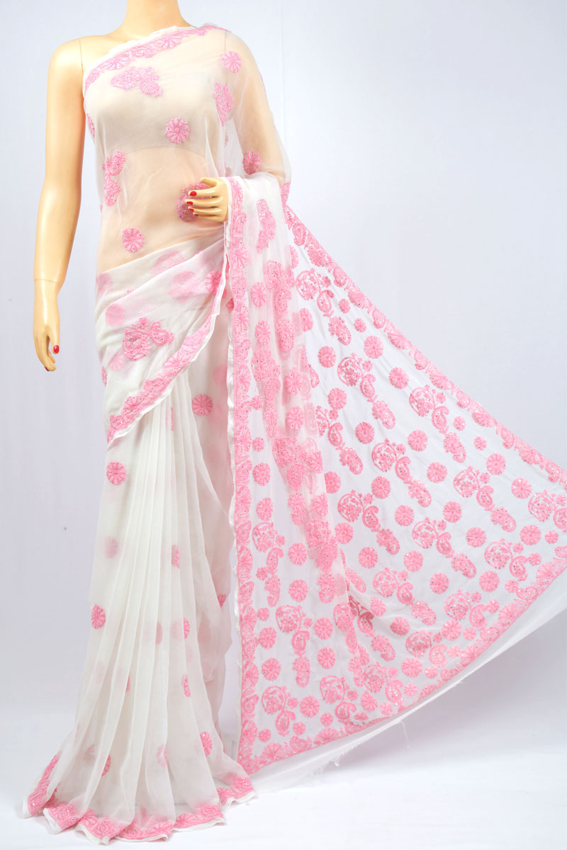 Blush Color Booty and Mukaish Work Hand Embroidered Lucknowi Chikankari Saree (With Blouse - Georgette) KC980006