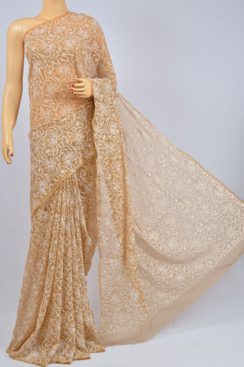 Sepia Color Allover Tepchi Work Hand Embroidered Lucknowi Chikankari Saree (With Blouse - Georgette) KC980008