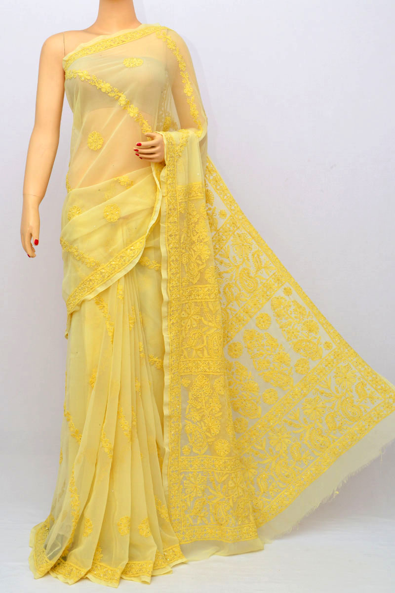 Light Yellow Color Full Chhadi Mukaish Work Hand Embroidered Lucknowi Chikankari Saree (With Blouse - Georgette) HS250236