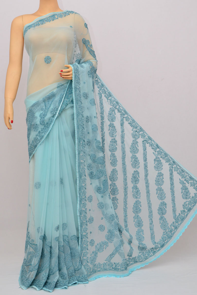 Sapphire Color Resham Thread Work Hand Embroidered Lucknowi Chikankari Saree (With Blouse - Georgette) HS250235