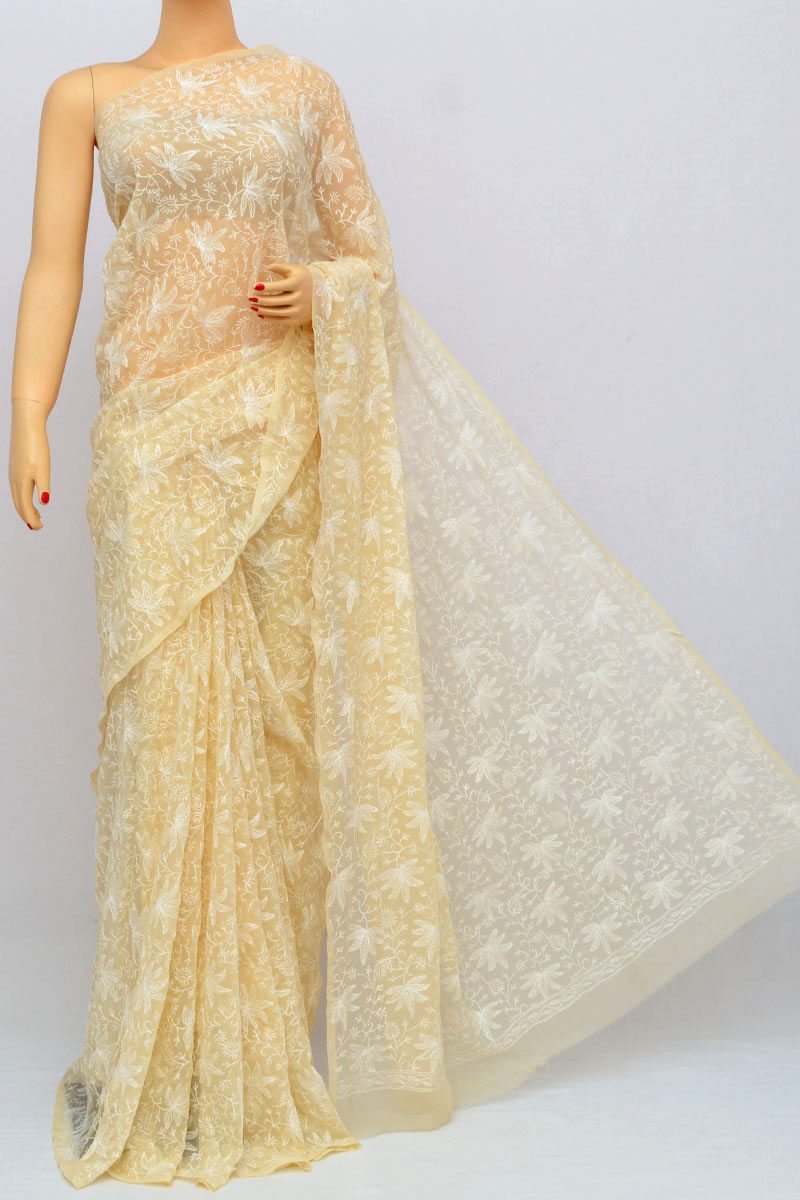 Fawn Color Tepchi Work Hand Embroidered Lucknowi Chikankari Saree (Without Blouse - Georgette) HS250233