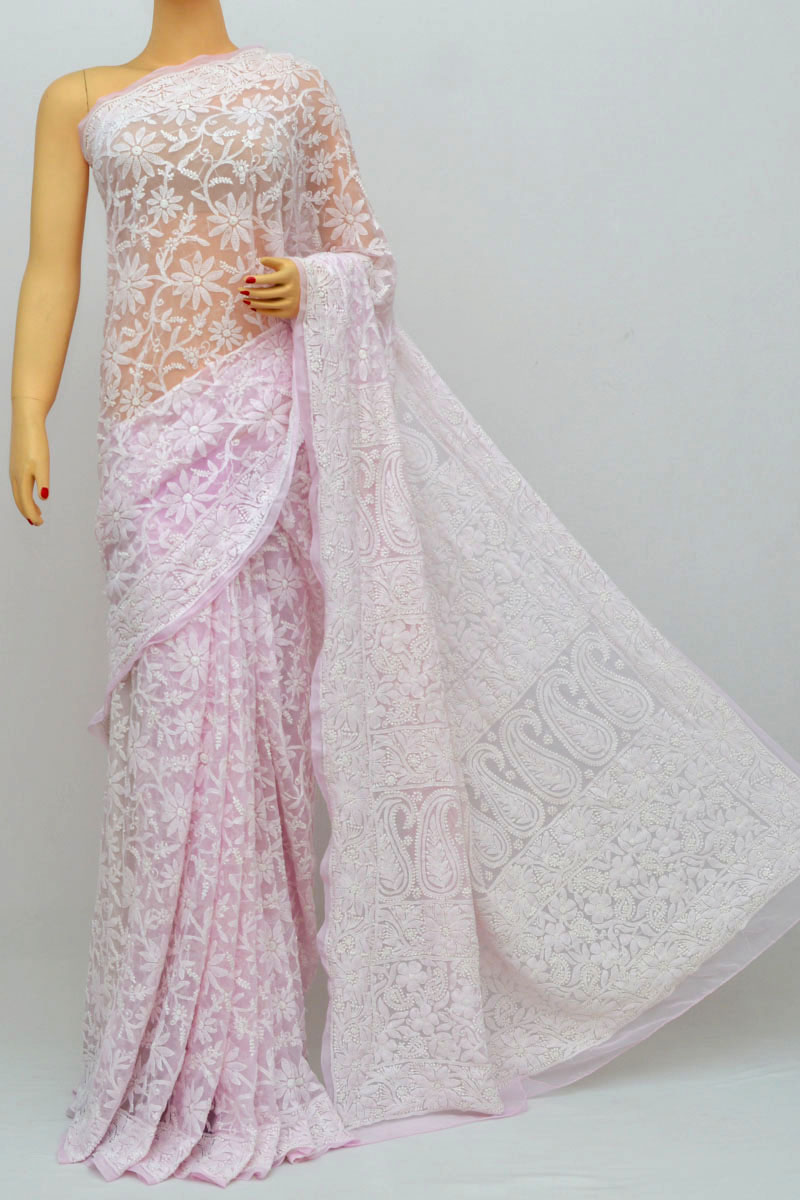 Lavender Color Allover Jaal Heavy Palla Hand Embroidered Lucknowi Chikankari Saree (With Blouse - Georgette) HS250232
