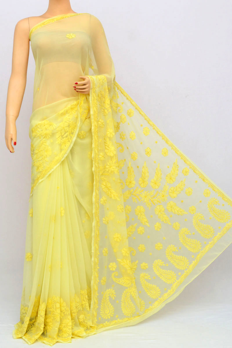 Lemon Color Full Chhadi Mukaish Work Hand Embroidered Lucknowi Chikankari Saree (with Blouse - Georgette) My250230