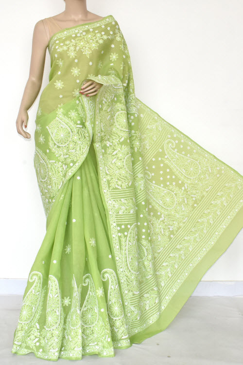Green Hand Embroidered Lucknowi Chikankari Saree (Cotton-With Blouse) 14671