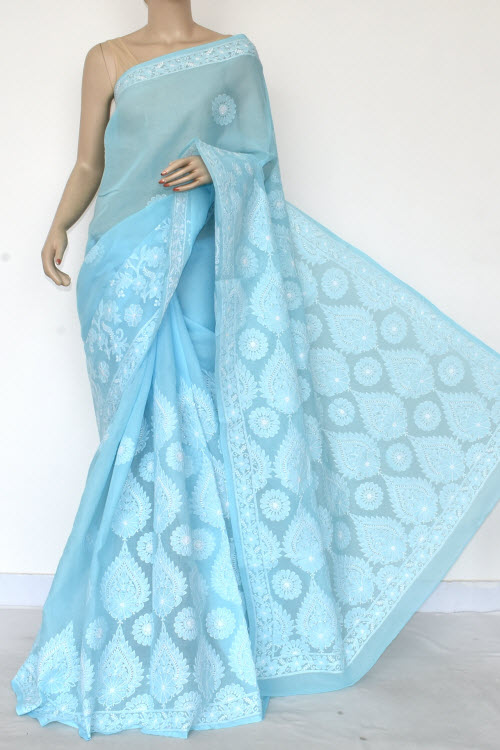 Sky Blue Hand Embroidered Lucknowi Chikankari Saree (Cotton-With Blouse) 14754