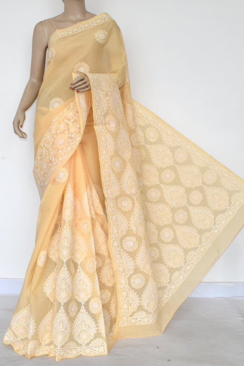 Light Orange Hand Embroidered Lucknowi Chikankari Saree (Cotton-With Blouse) 14755
