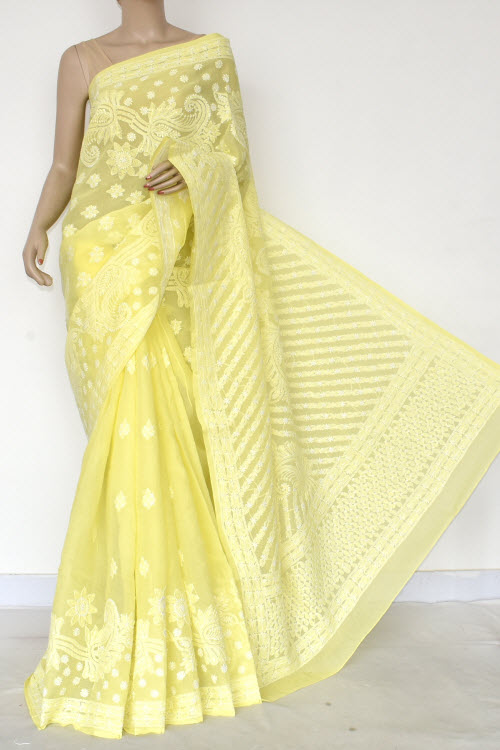 Yellow Hand Embroidered Lucknowi Chikankari Saree (Cotton-With Blouse) 14769