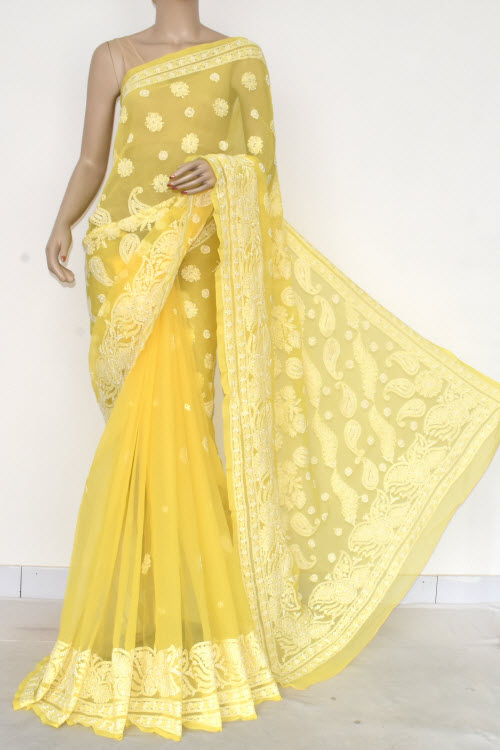 yellow Hand Embroidered Lucknowi Chikankari Saree (Georgette-With Blouse) 14577