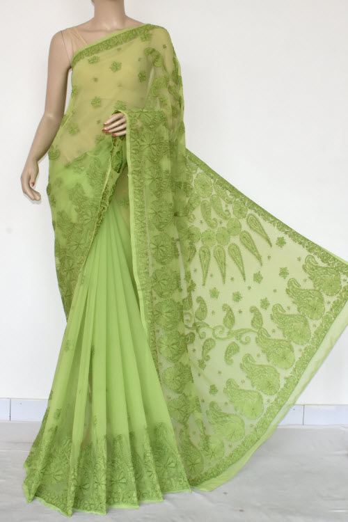 Green Hand Embroidered Lucknowi Chikankari Saree (Georgette-With Blouse) 14617