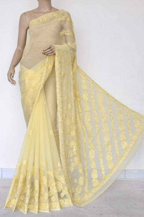 Yellow Hand Embroidered Lucknowi Chikankari Saree (georgette-with Blouse) 14619