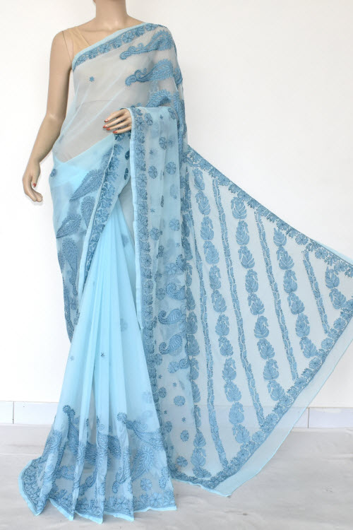 Blue Hand Embroidered Lucknowi Chikankari Saree (Georgette-With Blouse) 14620
