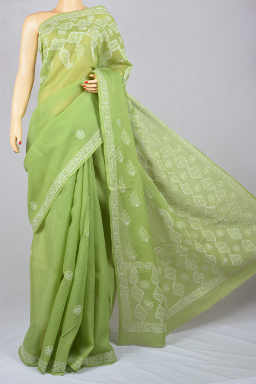 Light green Hand Embroidered Lucknowi Chikankari Saree (With Blouse - Cotton) MC250022