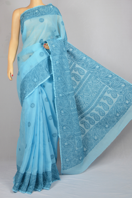 Light blue Hand Embroidered Lucknowi Chikankari Saree (With Blouse - Cotton) MC250023