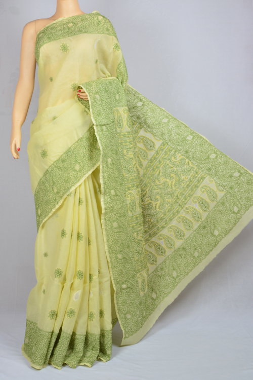 Menhdi Green Hand Embroidered Lucknowi Chikankari Saree (With Blouse - Cotton) MC250024