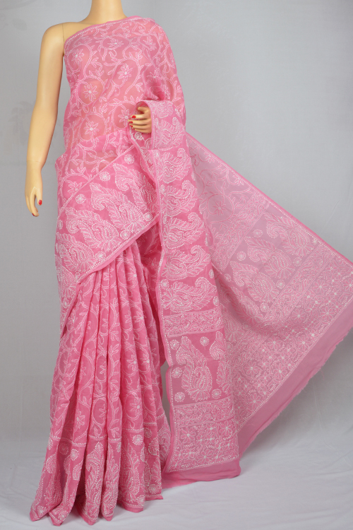 Pink Allover Hand Embroidered Lucknowi Chikankari Saree (With Blouse - Cotton)  MC250026