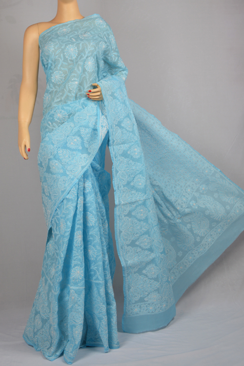 Blue Allover Hand Embroidered Lucknowi Chikankari Saree (With Blouse - Cotton) MC250027