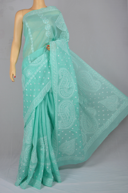 Light Green Hand Embroidered Lucknowi Chikankari Saree (with Blouse - Cotton) Ss250028