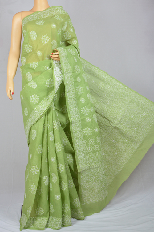 Light green Hand Embroidered Lucknowi Chikankari Saree (With Blouse - Cotton) MC250029