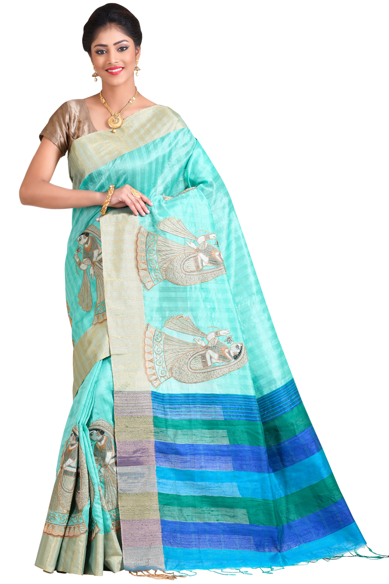 Sea Green Color Art Matka Silk, Resham Work, Zari Patta Saree