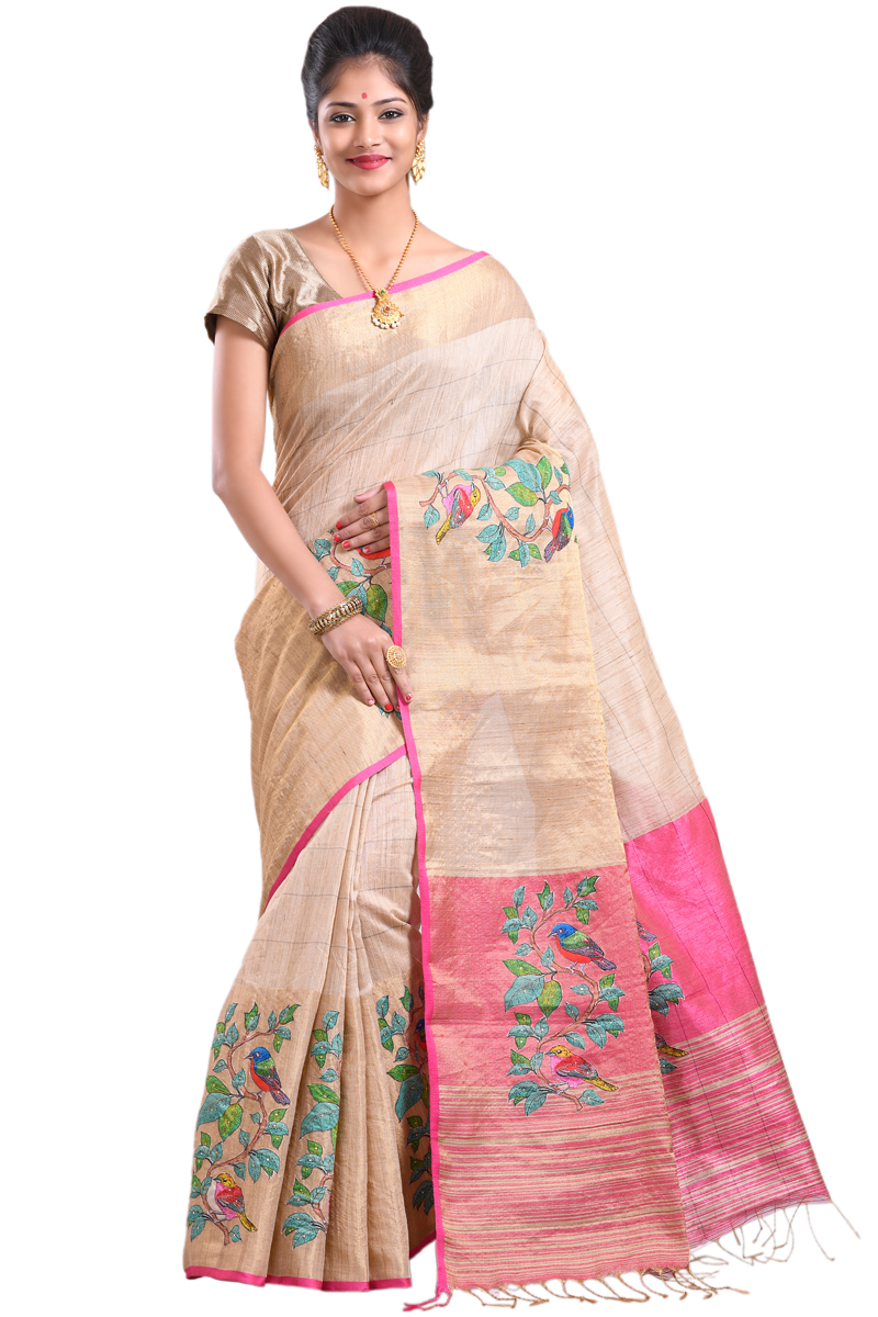 Beige Color Chanderi Saree Highlighted By Stones On Patch Work With Golden Fancy Border.