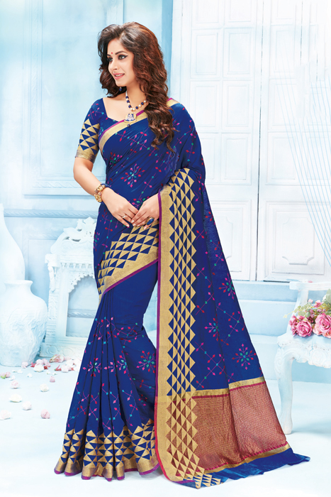 Royal Blue Saree With Matka Print Border