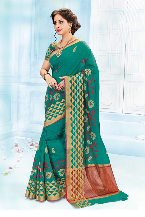 Green Saree With Matka Print In Semi Silk