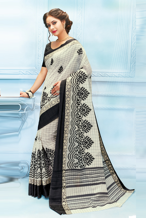 Black And White Saree In Checks With Machine Embroidered