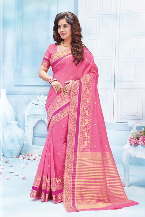 Semi Silk Saree In Light Blue With Zari Border