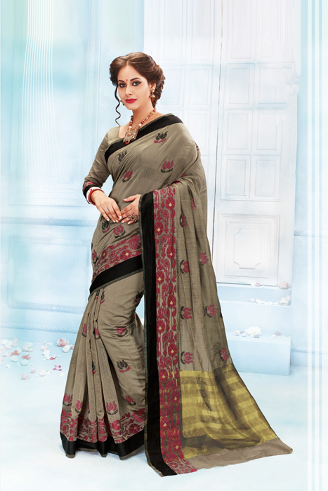 Black Border With Embroidered And Zari Palla In Grey