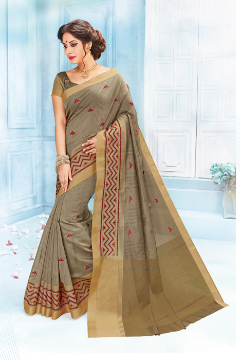 Elegant Grey Saree With Matka  Print Border And Slightly Weaved Border