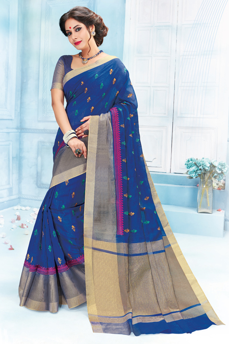 Royal Blue Saree With Zari  Weaving Border In Semi Silk