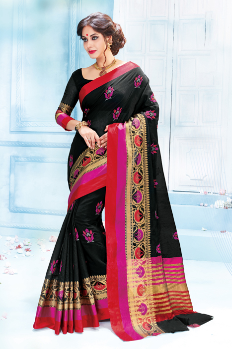 Black Saree  With Red Border In Semi Silk