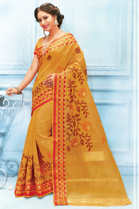 Semi Silk Saree With Zaree Weaving And Matka Print