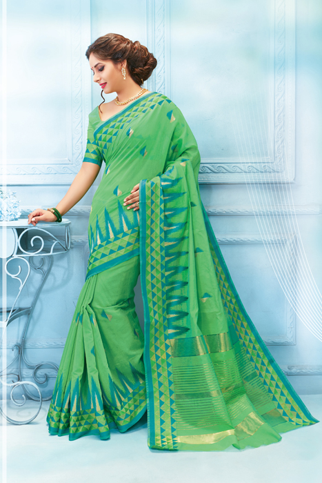 Green Saree In Matka Print Border With Zari Lining