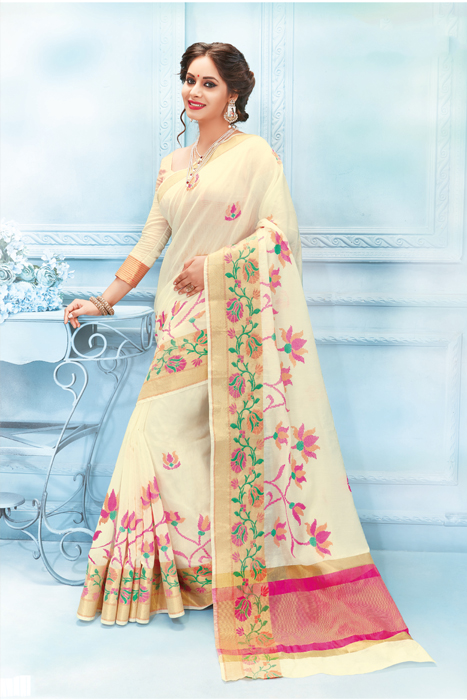 Semi Silk Saree In Cream Color With Floral Border
