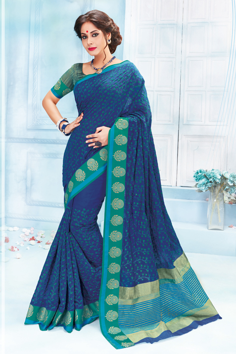 Semi Silk Saree With All Over Thread Weaving