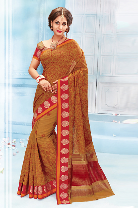 Semi Silk Saree With Thread Weaving And Zari As Well