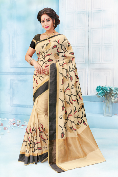 Beige Saree With Black Border Machine Embroidered