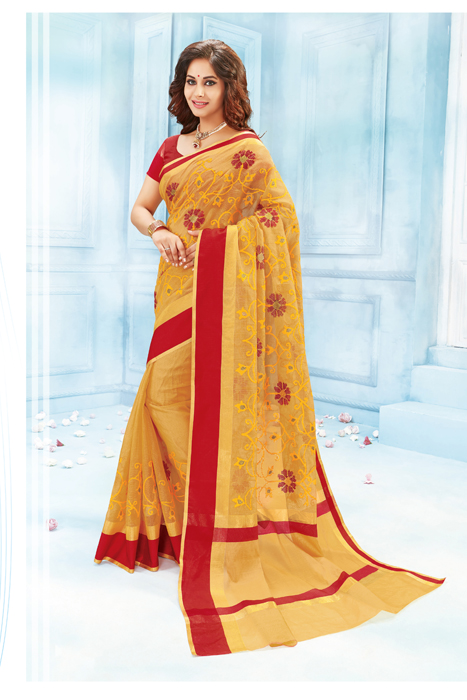 Yellow Saree With Red Border And Machine Embroidery In Semi Silk