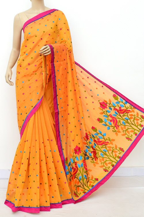 Yellow Colour Chanderi Cotton Saree (With Blouse) 16315