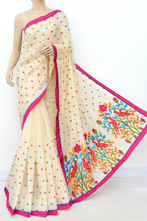 Biege Colour Chanderi Cotton Saree (With Blouse) 16316