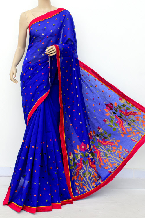 Blue Colour Chanderi Cotton Saree (With Blouse) 16317