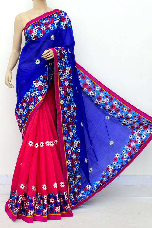 Mazenta & Blue Colour Chanderi Cotton Saree (With Blouse) 16323
