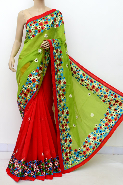 Mazenta & Green Colour Chanderi Cotton Saree (With Blouse) 16324