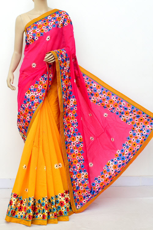 Yellow & Pink Colour Chanderi Cotton Saree (With Blouse) 16325