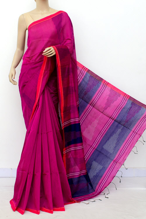 Pink Colour Masturised Cotton Saree (With Blouse) 16303
